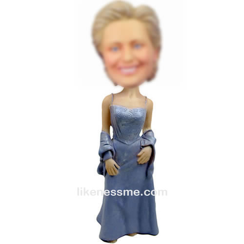 Custom blue dress bobbleheads