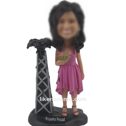 custom bobbleheads of pink dress