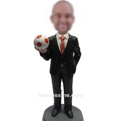 man with football bobbleheads