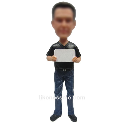 man with ipad bobbleheads